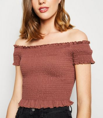 Rust Shirred Frill Trim Bardot Top