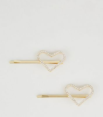 2 Pack Gold Diamanté Heart Hair Slides