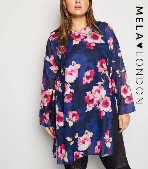 4c6294bdeb ... Mela Curves Blue Floral Tunic Top ...