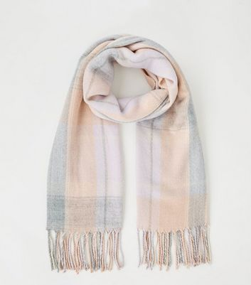 Pink Check Scarf by New Look