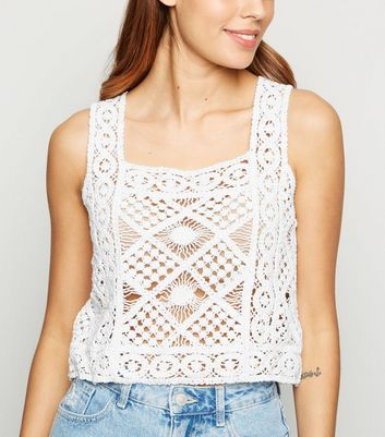 White Square Neck Crochet Vest by New Look