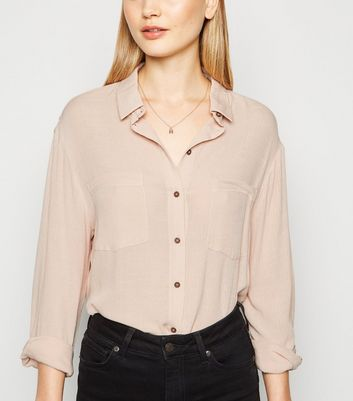Pale Pink Cheesecloth Long Sleeve Shirt