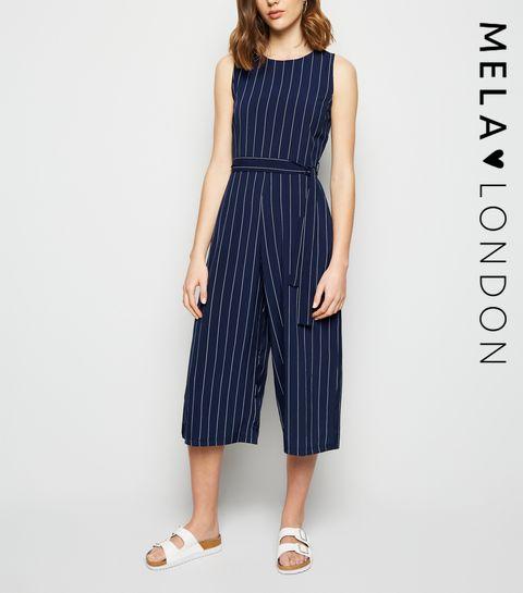 433637ace2 ... Mela Blue Pinstripe Tie Waist Culotte Jumpsuit ...
