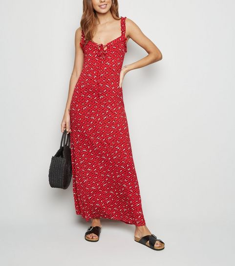 938a5d593add ... Red Ditsy Print Frill Trim Maxi Dress ...