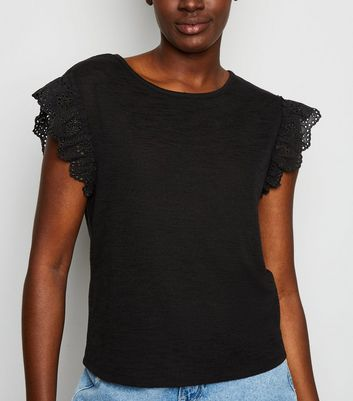 Black Broderie Sleeve T-Shirt