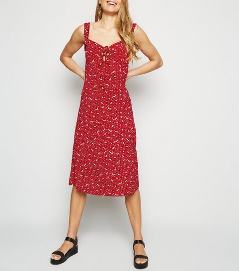 764fb6fbd683 ... Red Ditsy Floral Lace Up Jersey Midi Dress ...