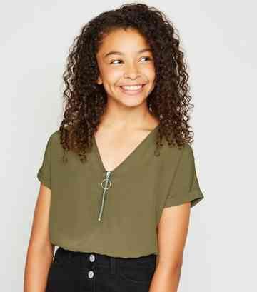 Girls Khaki Elasticated Hem Zip Front Top