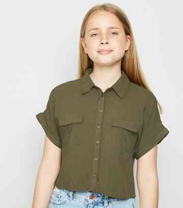 Girls Khaki Short Sleeve Boxy Shirt