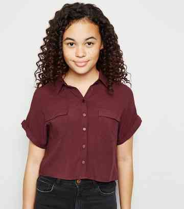 Girls Burgundy Short Sleeve Boxy Shirt