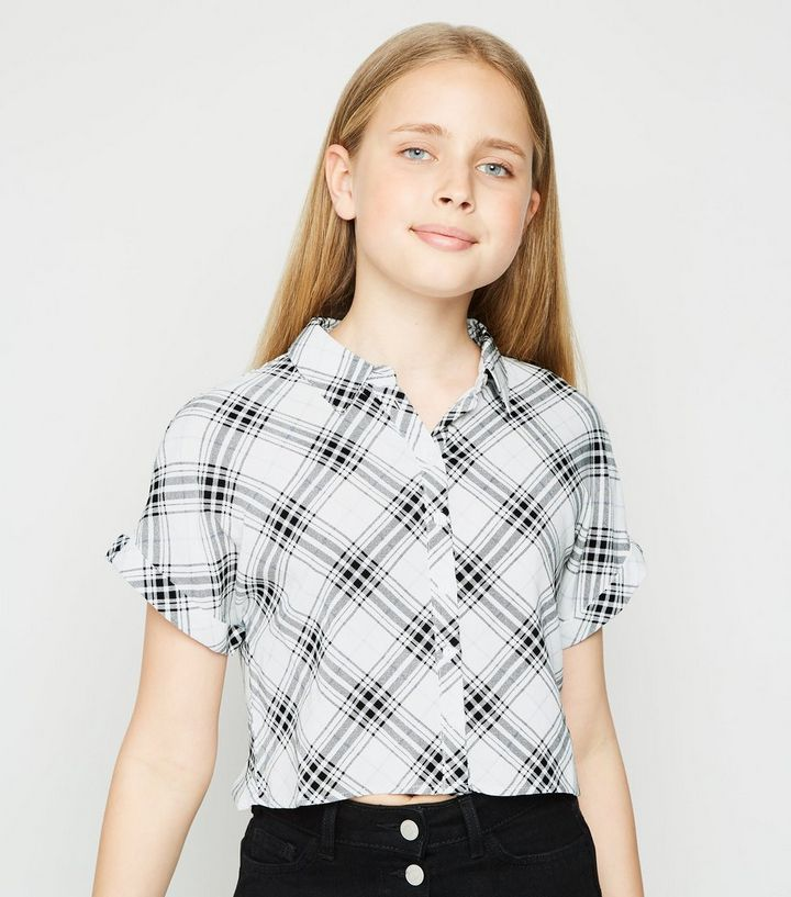 Girls White Check Button Up Boxy Shirt Add To Saved Items Remove From Saved Items