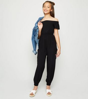 Girls Black Utility Bardot Jumpsuit