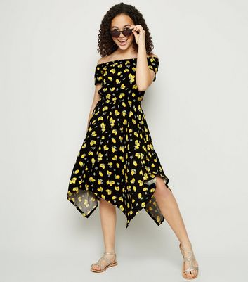 Girls Black Lemon Hanky Hem Dress