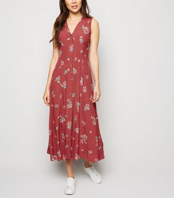 Red Floral Lace Up Back Midaxi Dress