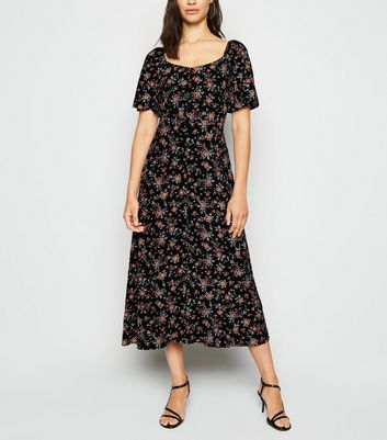 Black Floral Button Up Milkmaid Midaxi Dress