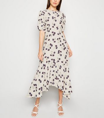 Off White Floral Balloon Sleeve Midi Dress