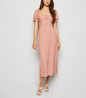 Pink Polka Dot Milkmaid Midi Dress