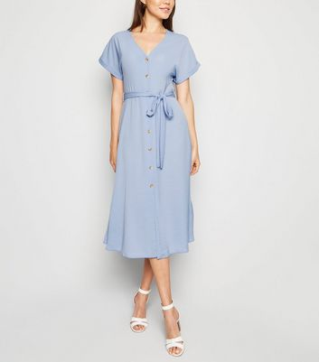 Pale Blue Herringbone Button Up Midi Dress
