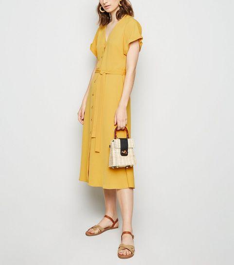 bc1a3e612 ... Yellow Herringbone Button Up Midi Dress ...
