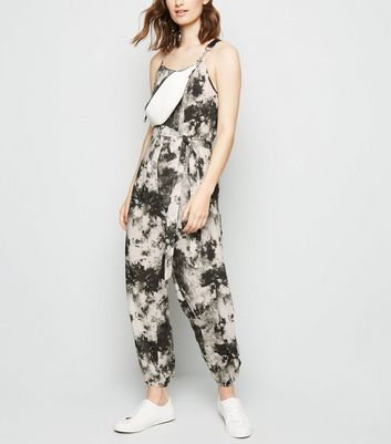 White Tie Dye Cuffed Jumpsuit