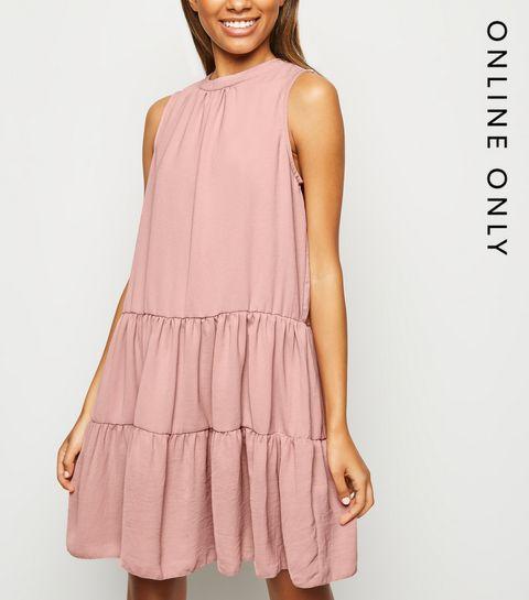 5b60fec06981c Pink Herringbone Sleeveless Smock Dress · Pink Herringbone Sleeveless Smock  Dress ...
