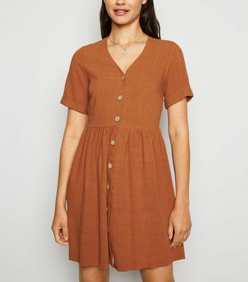 Rust Linen Look Button Up Smock Dress
