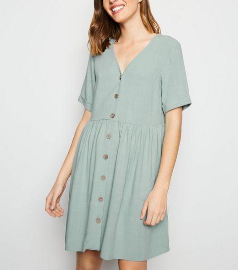 9219e8f5f277b3 ... Mint Green Button Up Linen-Look Dress ...