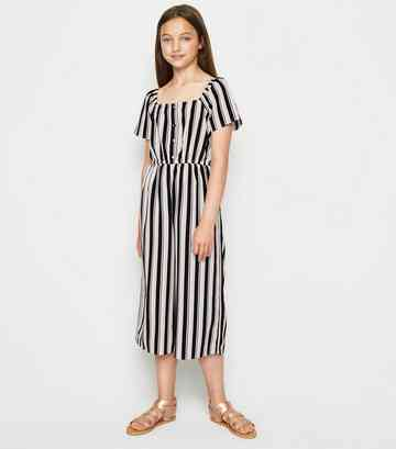 51fa64c0383b43 Girls Black Stripe Square Neck Jumpsuit ...