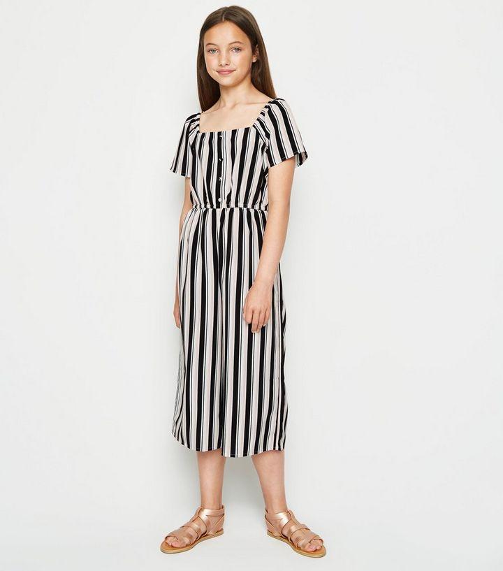 5eba69d7fd Girls Black Stripe Square Neck Jumpsuit | New Look