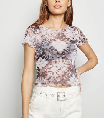 White Tie Dye Mesh Short Sleeve T-Shirt