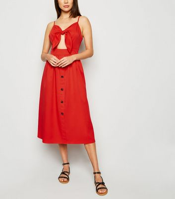 Cameo Rose Red Button Midi Dress