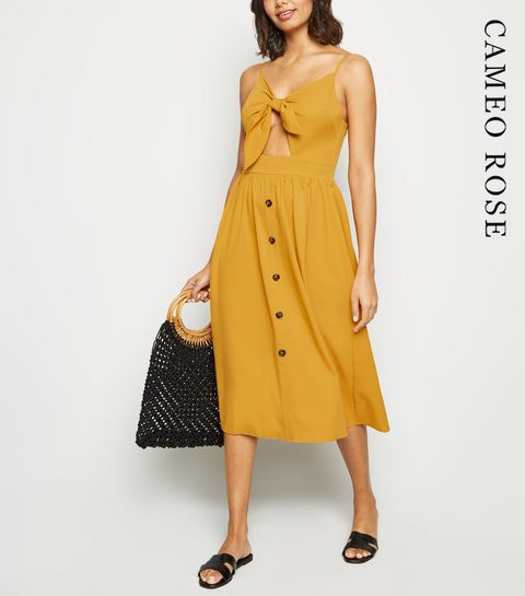 4671d364d3 ... Cameo Rose Mustard Button Midi Dress ...