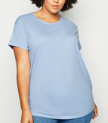 Curves Blue Organic Cotton Oversized T-Shirt