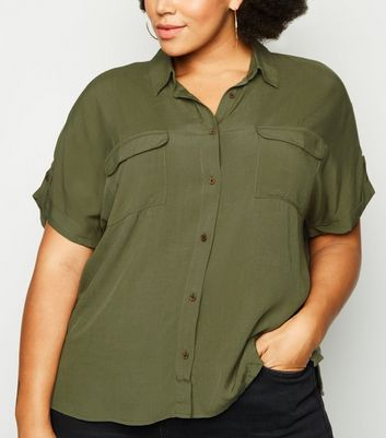 Curves Khaki Double Pocket Short Sleeve Shirt