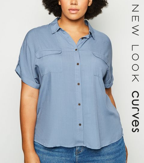 eeca3d9cfaaca1 ... Curves Blue Double Pocket Short Sleeve Shirt ...