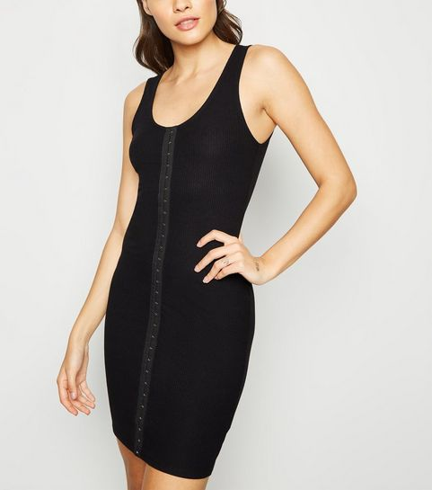 02aa646b ... Black Ribbed Hook and Eye Mini Dress ...