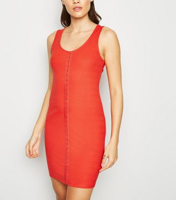 Red Ribbed Hook and Eye Mini Dress