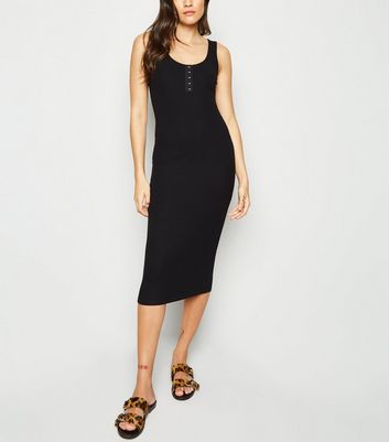 Black Ribbed Hook and Eye Midi Dress