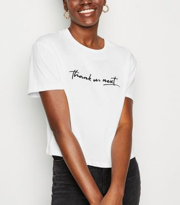 White Thank You Next Boxy Crop T-Shirt