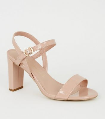 Extra Wide Fit - Chaussures vernies nude à talons blocs