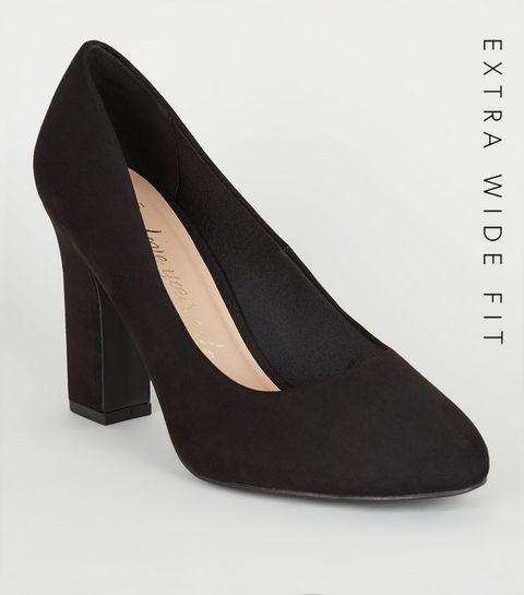 23eba73fb2eec ... Extra Wide Fit Black Suedette Court Shoes ...