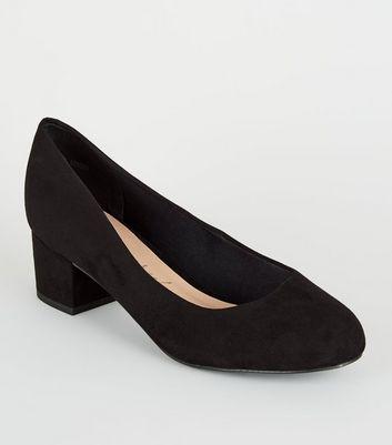Extra Wide Fit Black Low Block Heel