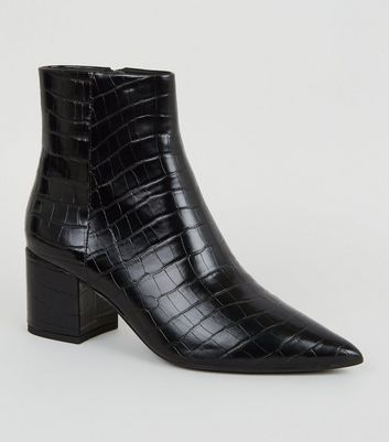 Black Faux Croc Pointed Ankle Boots