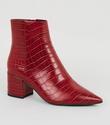 Dark Red Faux Croc Pointed Ankle Boots