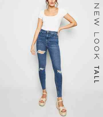 Tall Blue Ripped Super Skinny Hallie Jeans