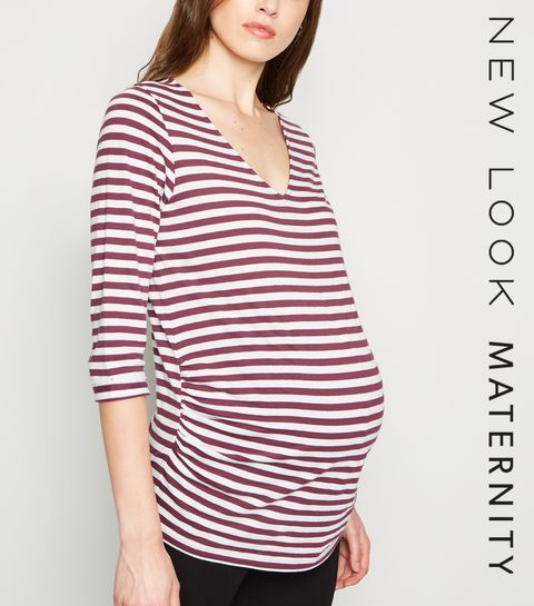 1934e48f4b095 ... Maternity Purple Stripe 1/2 Sleeve T-Shirt ...