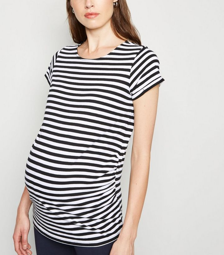 01128d75c83ab Maternity Black Stripe 1/2 Sleeve T-Shirt | New Look