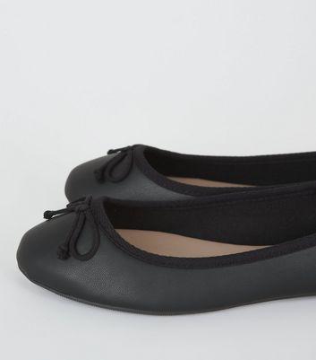 Wide Fit Black Bow Front Ballet Pumps