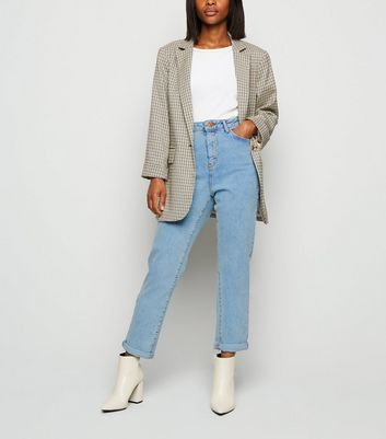 Petite Pale Blue Waist Enhance Mom Jeans