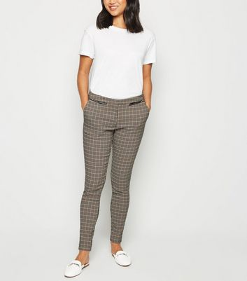 Petite Black Check Slim Fit Trousers by New Look
