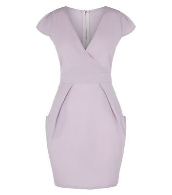Blue Vanilla Lilac Wrap Front Tulip Dress New Look